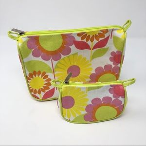 NWOT Clinique Spring Flower Travel Cosmetic Bags